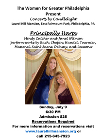 Poster forPrincipally Harps July 9, 2017 concert at Laurel Hill Mansion located in Fairmount Park in Philadelphia PA